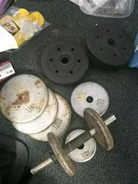 67.5 pounds ,gray and black barbell and dumbbells Hesperia, 92345