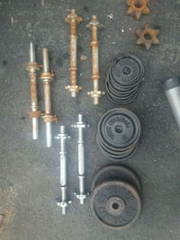 Threaded dumbbell handles and plate weights