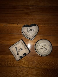 Set of 3 ceramic trinket boxes: love hope and joy