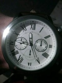 round silver chronograph watch with black leather strap Redlands, 92374