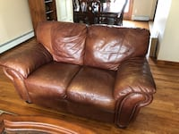 3 pcs Brown leather sofa loveseat and chair  Lindenhurst, 11757