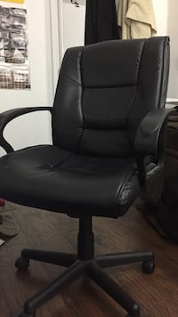 Black desk chair, Black leather padded rolling armchair