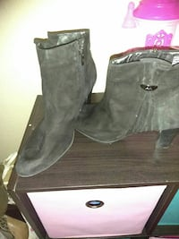 pair of gray suede side-zip heeled booties Pensacola, 32505