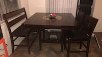 hightop dinner table with bench and two chairs. Spinning center circle! Oceanside, 92058