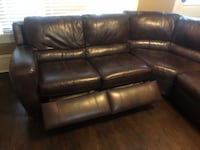 Dark Brown Leather Sectional with 2 reclining seats Denver