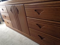 brown wooden dresser with mirror and two night stands  Maple Ridge, V2W 1B3