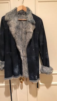 Leather and Fur Blue Jacket