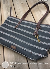Black and white striped leather tote bag  London, N5W 1E8