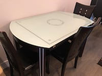 Rectangular white wooden table with 3 chairs dining set Surrey, V3V 1Y4