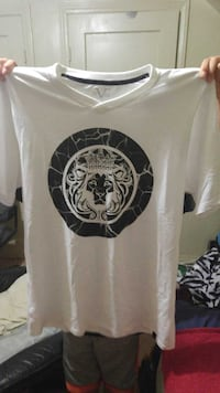 Versace 19-69 italiawhite and black v-neck t-shirt