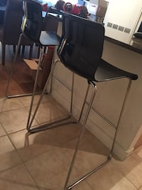 Two stainless steel based black barstools Silver Spring, 20910