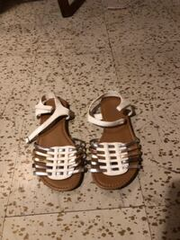 white sandals with gray and gold strips  WALDORF