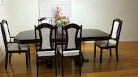 Solid cherry wood dining table with 6 chairs  Milton
