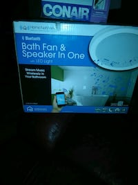 white Home NetWerks Bluetooth bath fan and speaker in one box