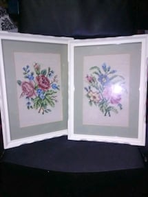 BEAUTIFUL FRAMED NEEDLE POINT WALL HANGERS