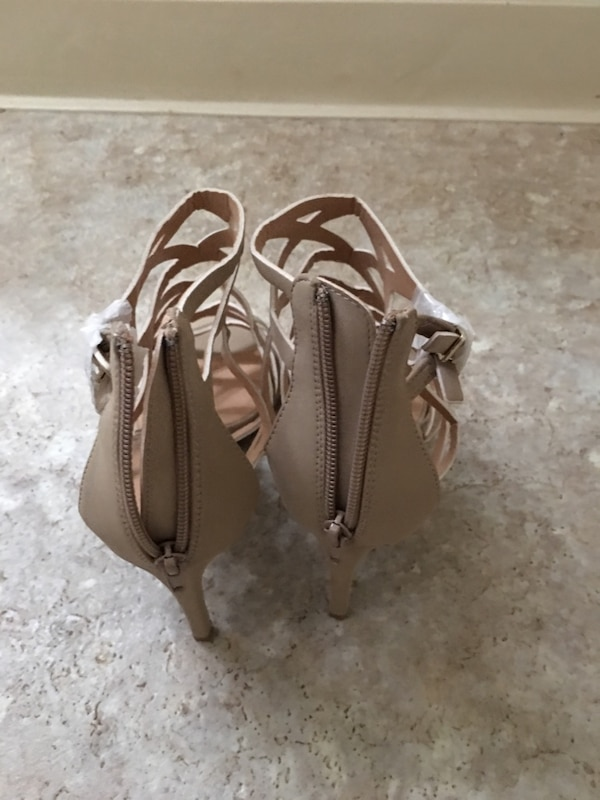 Women's brown leather strappy heeled sandals 5907e85c-1421-43df-a34f-7c2160349527