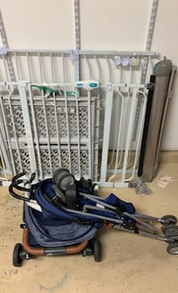 4 baby gates and 2 strollers