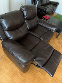 2 seater sofa leather look recliner