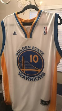 yellow and blue Adidas Golden State Warrior 10 jersey shirt