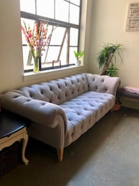 Modern Grey Velvet Tufted Sofa