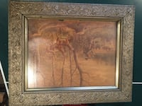 Very old, antique picture, print woods hunter and deer with wooden frame Hummelstown, 17036