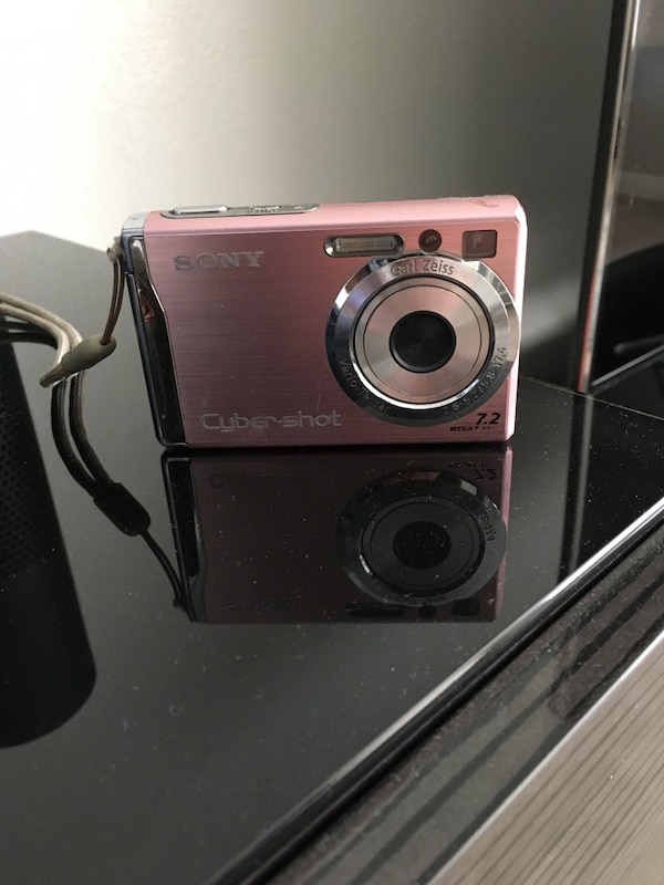 pink Sony Cyber-shot point-and-shoot camera
