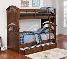 Twin wood bunk beds with twin trundle (Mattress Not included)