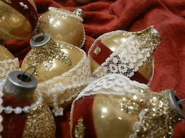 Vintage home decor holiday Christmas tree ornaments. Victorian handcraft. gold, burgundy, lace & 'pearls'