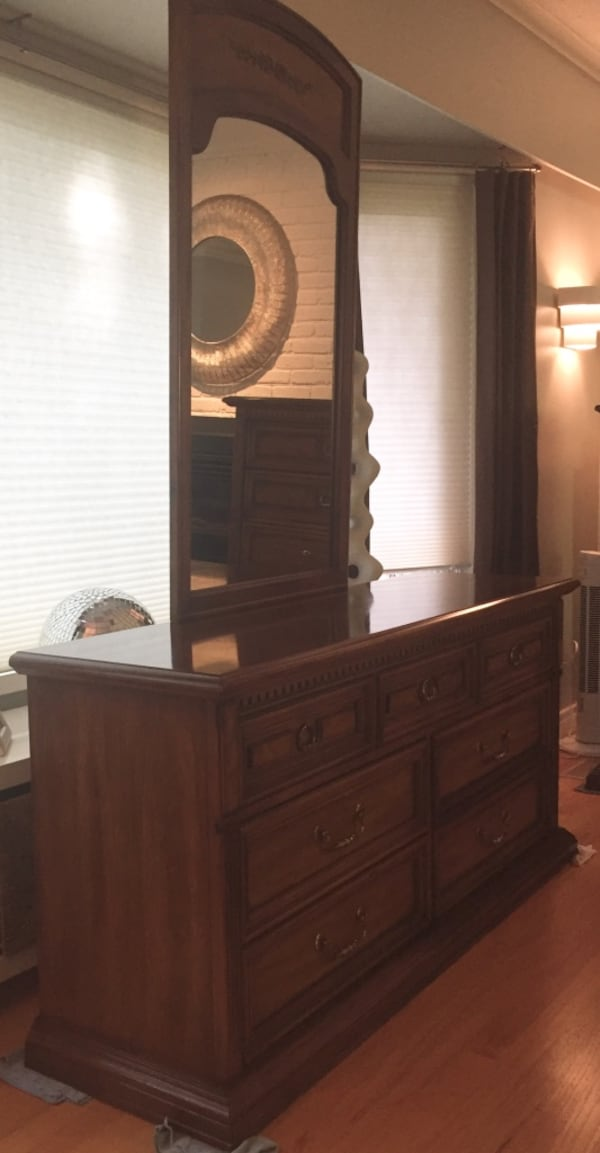 Vintage Stanley Furniture neoclassic solid wood dresser with mirror - REDUCED! db52e659-db7b-4b61-8caf-306972c48657