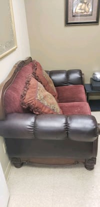brown leather sofa chair with throw pillow Bakersfield, 93311