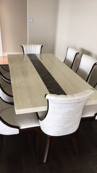 Solid white marble dining table with 8 jeweled chairs Toronto, M5J 2T5