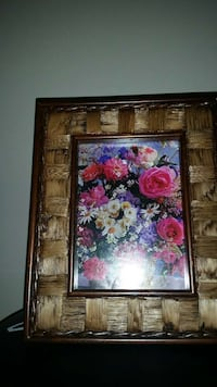 pink purple white petaled flower picture frame