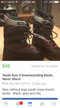 pair of black and red snowboard boots Gaithersburg, 20878