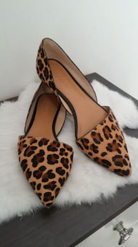 brown and black leopard print slip on shoe