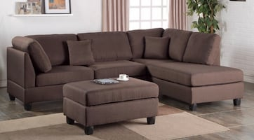 New Chocolate Sectional and Ottoman