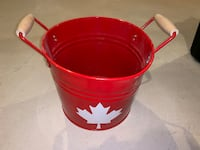 Red metal Canada bucket Orangeville, L9W 6X9