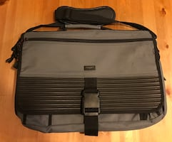Gray and black laptop bag