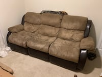 Price Reduced Brown suede 3-seat recliner sofa Alexandria, 22306