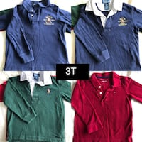 3T boys ling sleeve polo shirts