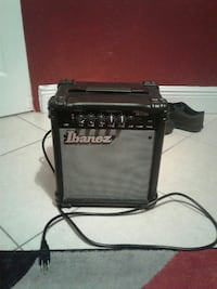black and gray Ibanez guitar amplifier