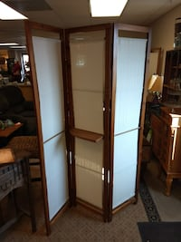 Room Divider or Screen / Wooden Frame / Cloth / With Shelf  60081