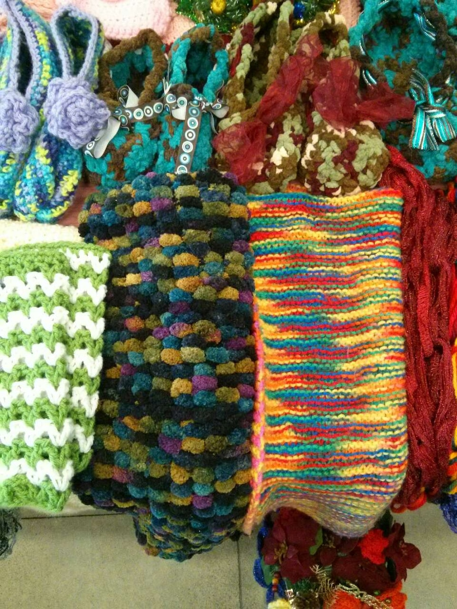 assorted colored knitted textiles