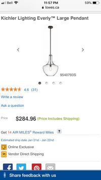 BNIB Kichler Lighting Everly Large Pendant  Cambridge, N3H 4G1