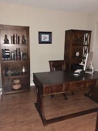 Solid wood desk, bookcase and chair
