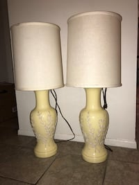 Pair of yellow and white decorative detail table lamps  Huntington Beach, 92648