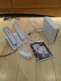 Wii console with games and controllers