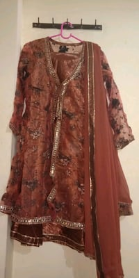 brown and black floral long sleeve dress