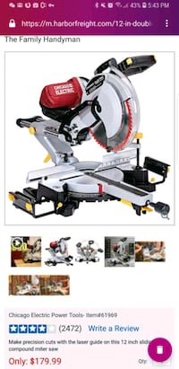 12 in. Double-Bevel Sliding Compound Miter Saw Wit San Gabriel, 91776