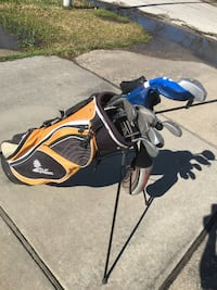 19 Assorted golf clubs with bag