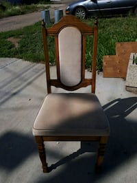 brown wooden framed brown leather padded chair Edmonton, T6B 2Y5